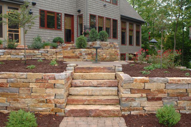 Retaining Walls Stone Steps Pillars Lang Landscape Llc